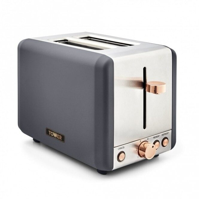 Tower T20036RGG 2 slice toaster Grey with Rose Gold highlights