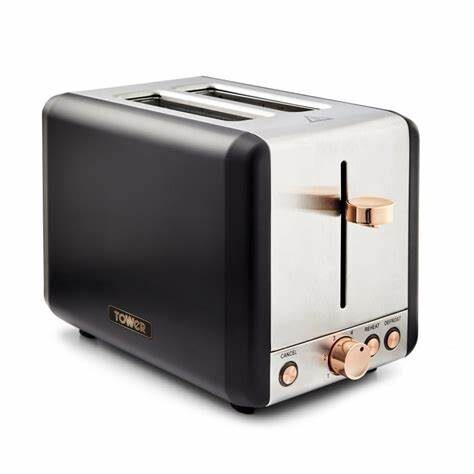 Tower T20036RG 2 slice Cavaletto Black and rose Gold toaster