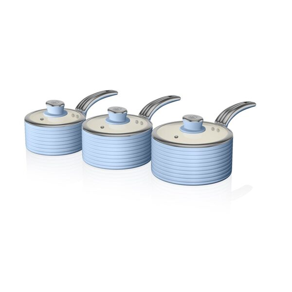 Swan SWPS3020BLN Retro 3 piece saucepan set in blue
