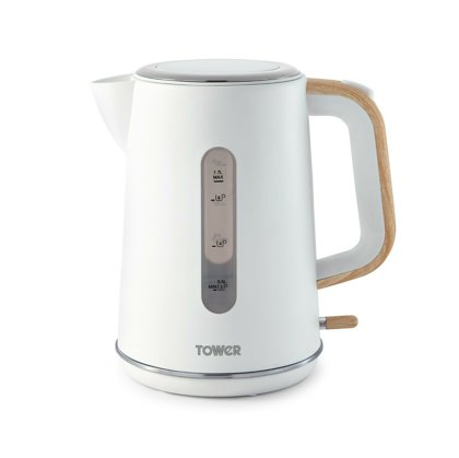 Tower T10037 White with Wood Accents Jug Kettle