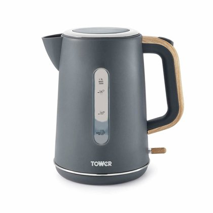 Tower T10037G Grey with Wood Accents Jug Kettle