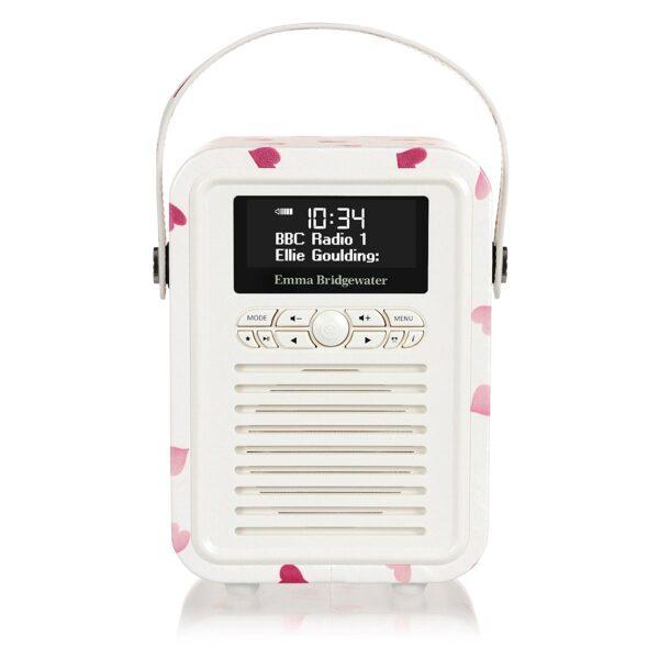 Retro mini DAB radio. Emma Bridgewater Pink Hearts design
